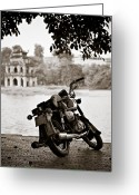 Motorcycle Photo Greeting Cards - Old Honda Greeting Card by David Bowman