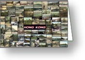Cityscape Pyrography Greeting Cards - Old Hong Kong Collage Greeting Card by Janos Kovac