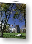 Windmill And Tree Greeting Cards - Old Hook Mill  East Hampton  Long Island  New York, Usa Greeting Card by Purestock