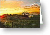 Shed Digital Art Greeting Cards - Old horse shed at sundown Greeting Card by Randall Branham