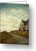 Vintage House Greeting Cards - Old House on Rural Road Greeting Card by Jill Battaglia