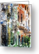 Urban Watercolour Greeting Cards - Old houses of San Juan Greeting Card by Zaira Dzhaubaeva