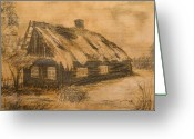 Forgotten Drawings Greeting Cards - Old Hut Greeting Card by Dagmara Czarnota