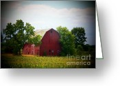 Red Barns Greeting Cards - Old Indiana Barn Greeting Card by Joyce L Kimble