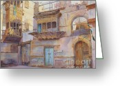 Old Town Painting Greeting Cards - Old Jeddah Greeting Card by Dorothy Boyer