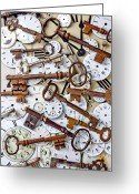 Concepts Greeting Cards - Old keys and watch dails Greeting Card by Garry Gay