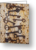 Rusted Greeting Cards - Old Keys Greeting Card by Garry Gay