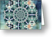 Yantra Greeting Cards - Old Lace Mandala Greeting Card by Zeana Romanovna
