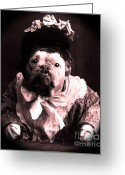 Old-fashion Digital Art Greeting Cards - Old Lady English Bulldog Greeting Card by Tisha McGee
