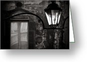 Monochrome Greeting Cards - Old Lamp Greeting Card by David Bowman