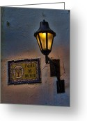Heritage Greeting Cards - Old lamp on a colonial building in old Cartagena Colombia Greeting Card by David Smith