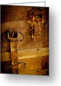 Linen Greeting Cards - Old Leather and Rust Greeting Card by Colleen Crowley