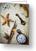 Postage Stamp Greeting Cards - Old letter with pen and starfish Greeting Card by Garry Gay