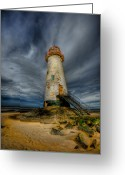 Flintshire Greeting Cards - Old Lighthouse Greeting Card by Adrian Evans