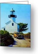 Woody Wagon Greeting Cards - Old Lighthouse Point Loma Greeting Card by Frank Dalton