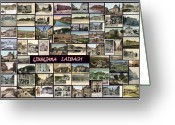Cityscape Pyrography Greeting Cards - Old Ljubljana Collage Greeting Card by Janos Kovac
