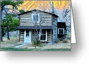 Pioneer Park Greeting Cards - Old Log Cabin in Yellowstone Greeting Card by Karon Melillo DeVega