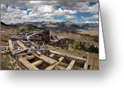 Old Mines Greeting Cards - Old Mackay Mine Ore Tramway Greeting Card by Leland Howard