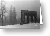 Snow Storm Greeting Cards - Old Main After the Fire Greeting Card by Heidi Hermes