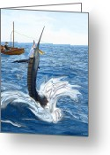 Old Man Fishing Greeting Cards - Old man and the Sailfish Greeting Card by Ralph Martens
