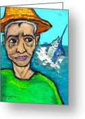Caribbean Art Pastels Greeting Cards - Old Man and the Sea Greeting Card by William Depaula