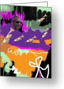 Michael Jackson Abstract Art For Sale Greeting Cards - Old Man Cosby Greeting Card by Harlan Lovestone