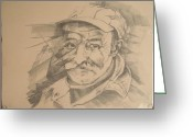 Drawing Pyrography Greeting Cards - Old Man Greeting Card by Curt Sandu Viorel