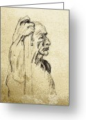 Cheek Drawings Greeting Cards - Old Man Holding Staff Greeting Card by Sheri Parris