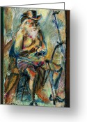Oil Pastel Greeting Cards - Old Man in the Chair Greeting Card by David Finley