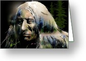 Tribe Greeting Cards - Old Man of the Woods Greeting Card by Paul Sachtleben