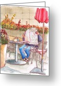 Vertical Painting Greeting Cards - Old-man-reading-the Sunday-paper-in-Beverly-Connection-Los Angeles-CA Greeting Card by Carlos G Groppa