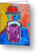 Bowler Hat Painting Greeting Cards - Old Man With Red Bowler Hat Greeting Card by Ana Maria Edulescu