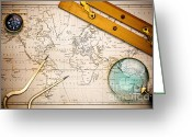 Old Map Photo Greeting Cards - Old map and navigational objects. Greeting Card by Richard Thomas