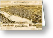 Streets Drawings Greeting Cards - Old Map Laredo Texas Greeting Card by Pg Reproductions