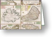 Border Drawings Greeting Cards - Old Map of English Colonies in the Caribbean Greeting Card by German School