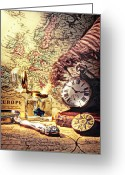 Old Map Photo Greeting Cards - Old maps and ink well Greeting Card by Garry Gay