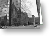 Cities Glass Art Greeting Cards - Old meets New Greeting Card by Mary Buczynski - Buchanan