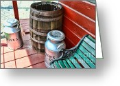 Rain Barrel Photo Greeting Cards - Old milk cans and rain barrel. Greeting Card by Paul Ward