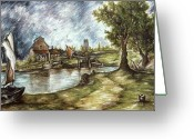 Masterpiece Drawings Greeting Cards - Old Mill by the Brook - Landscape Oil Greeting Card by Peter Art Prints Posters Gallery