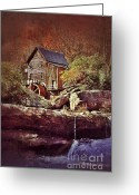 Glade Mill Greeting Cards - Old Mill on a Stream Greeting Card by Jill Battaglia