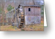 Bygone Greeting Cards - Old Mill Water Wheel and Sluce Greeting Card by Douglas Barnett