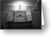 Cabinet Room Greeting Cards - Old Mirrored Bathroom Cabinet In A Run Down Bathroom Greeting Card by Joe Fox