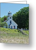 Point Park Greeting Cards - Old Mission Point Lighthouse 5306 Greeting Card by Michael Peychich