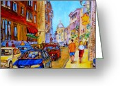 Montreal Cityscenes Greeting Cards - Old Montreal Greeting Card by Carole Spandau