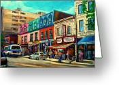 Montreal Cityscenes Greeting Cards - Old Montreal Schwartzs Deli Plateau Montreal City Scenes Greeting Card by Carole Spandau