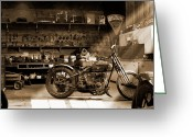 Wheels Greeting Cards - Old Motorcycle Shop Greeting Card by Mike McGlothlen