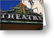 Neon Art Greeting Cards - Old Movie Theatre Sign Greeting Card by Garry Gay