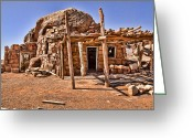 Vermillon Greeting Cards - Old Navajo Stone House Greeting Card by Jon Berghoff