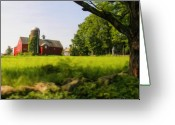 Red Barn Greeting Cards - Old New England Farm Greeting Card by Elzire S