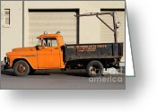 Old Chevrolet Truck Greeting Cards - Old Orange American Chevy Chevrolet 3600 Truck . 7D12735 Greeting Card by Wingsdomain Art and Photography
